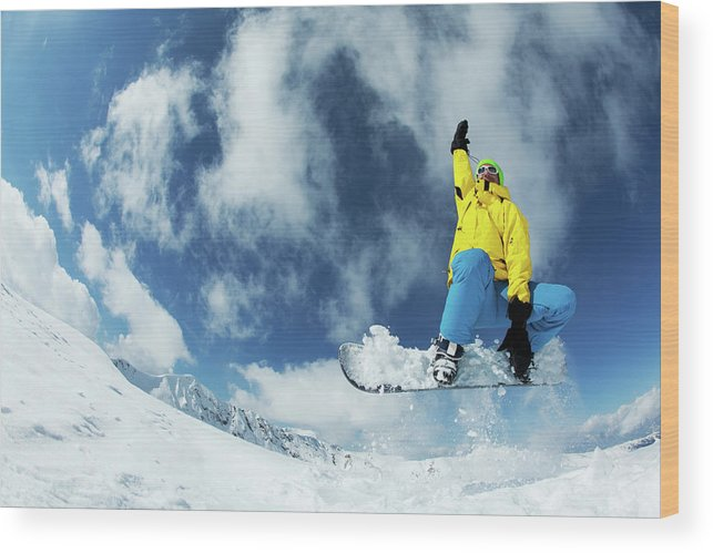 Young Men Wood Print featuring the photograph Snowboarding by Yulkapopkova