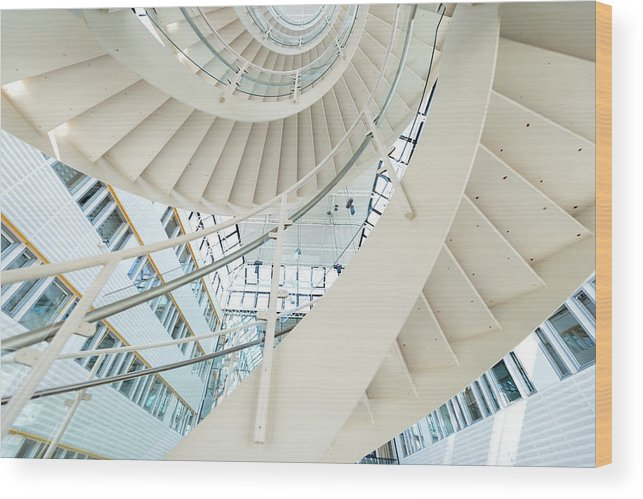 Steps Wood Print featuring the photograph Spiral Staircase Inside Office Complex by Blurra