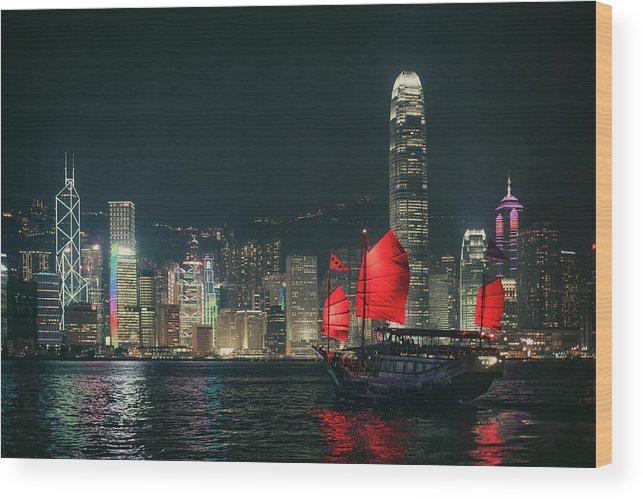 Outdoors Wood Print featuring the photograph Splendid Asian City, Hong Kong by D3sign