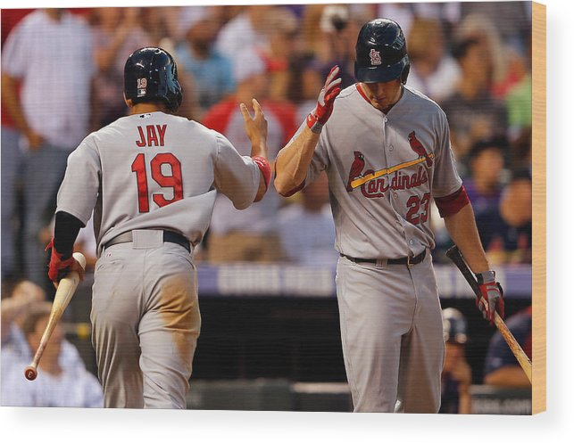 St. Louis Cardinals Wood Print featuring the photograph St Louis Cardinals v Colorado Rockies by Doug Pensinger