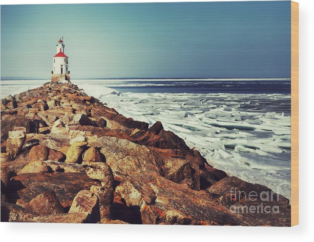 Wisconsin Point Wood Print featuring the photograph Stone And Ice At Wisconsin Point by Ever-Curious Photography