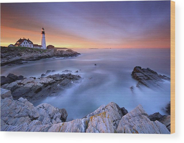 Tranquility Wood Print featuring the photograph Summer Sunset At The Portland Head Light by Katherine Gendreau Photography