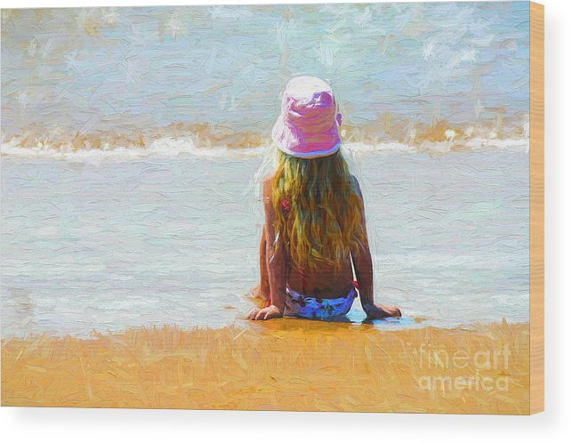 Little Girl On Beach Wood Print featuring the photograph Summertime by Sheila Smart Fine Art Photography