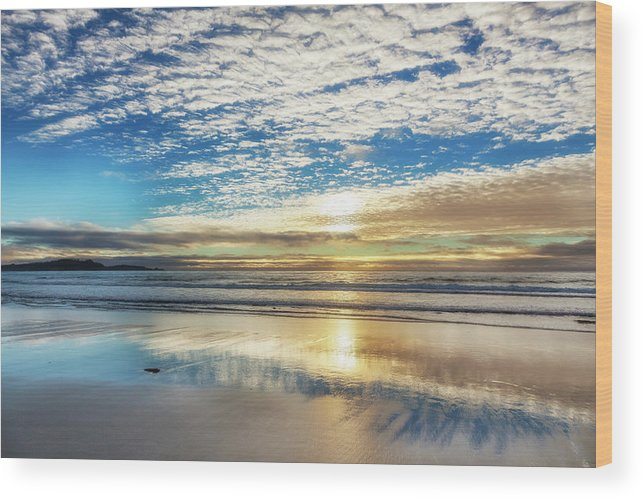 Tranquility Wood Print featuring the photograph Sunset On Carmel Beach, California by Alvis Upitis