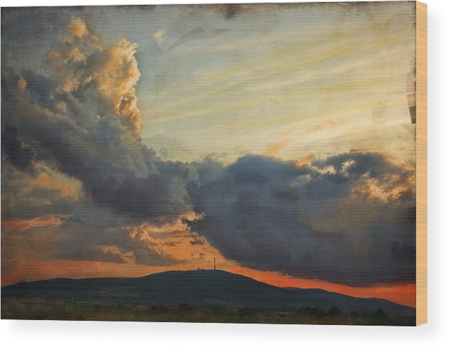Digital Painting Wood Print featuring the photograph Sunset over Holy Cross Mountains by Anna Gora