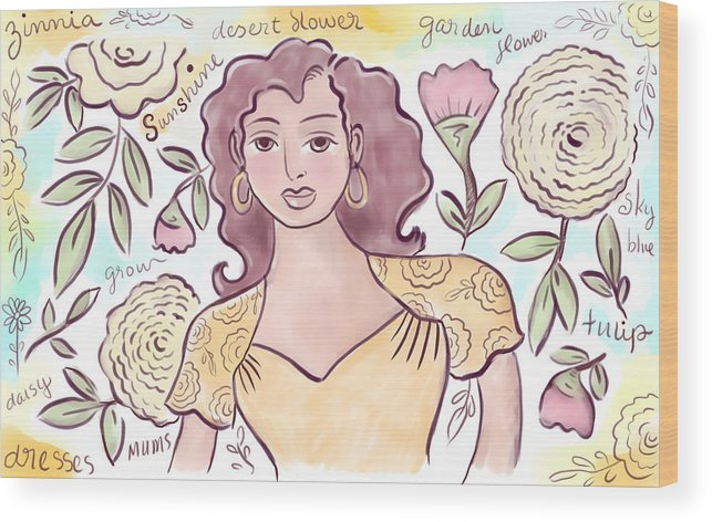 Woman Wood Print featuring the digital art Sunshine Flowers by Elaine Jackson