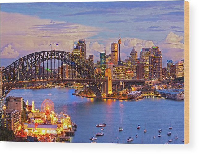 Financial District Wood Print featuring the photograph Sydney Harbour Bridge And Sydney Skyline by Scott E Barbour