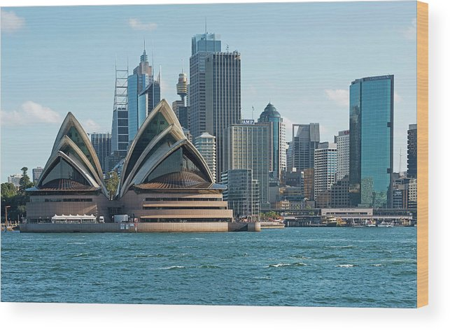Built Structure Wood Print featuring the photograph Sydney Opera House And Waterfront by Marco Simoni
