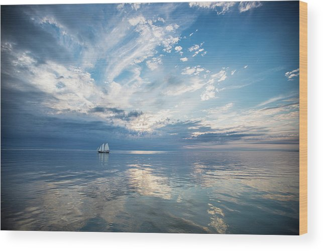 Tranquility Wood Print featuring the photograph Tall Ship On The Big Lake by Rudy Malmquist