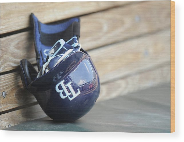 Headwear Wood Print featuring the photograph Tampa Bay Rays V Baltimore Orioles - by Mitchell Layton
