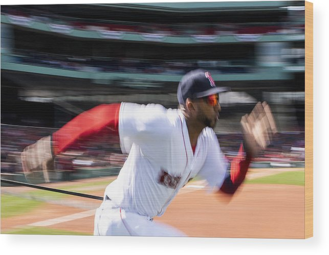 Three Quarter Length Wood Print featuring the photograph Tampa Bay Rays v Boston Red Sox by Billie Weiss/Boston Red Sox