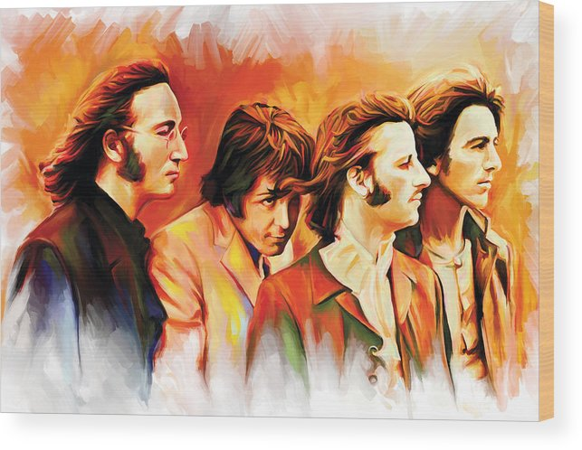 The Beatles Paintings Wood Print featuring the painting The Beatles Artwork by Sheraz A