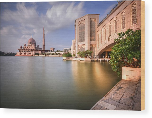 Tranquility Wood Print featuring the photograph The Bridge And The Mosque by Khasif Photography