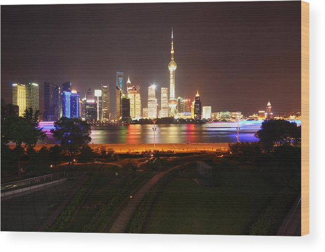 Tranquility Wood Print featuring the photograph The Bund Img_2968 by Xiaozhu Yuan