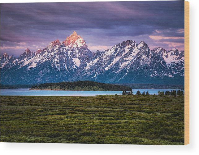 Grass Wood Print featuring the photograph The Grand Tetons mountain range in Wyoming, USA. by Stephen Flournoy
