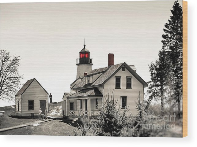 Lighthouse Wood Print featuring the photograph The Lightkeeper by Brenda Giasson