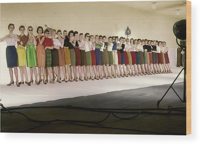 Fashion Wood Print featuring the photograph The Radio City Rockettes by John Rawlings