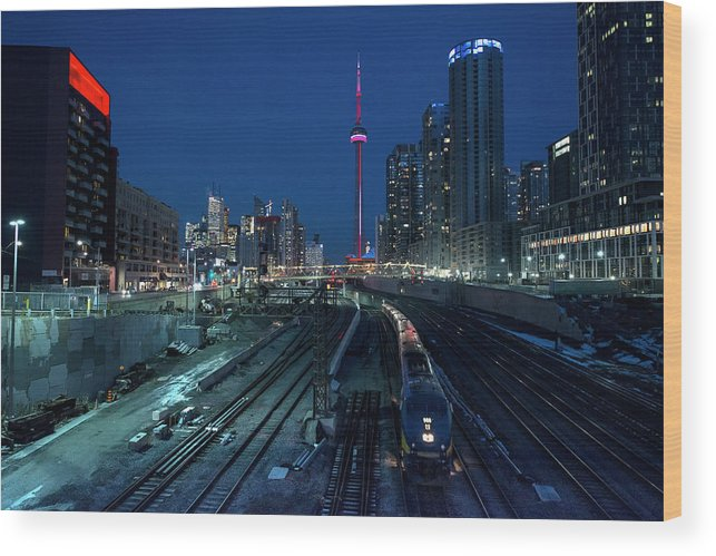 Train Wood Print featuring the photograph The Railway Lands Toronto by This Image