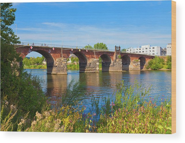 Roman Wood Print featuring the photograph The Roman Bridge Over Mosel River In by Werner Dieterich