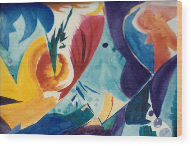 Abstract Wood Print featuring the painting The Seed by Phoenix Simpson