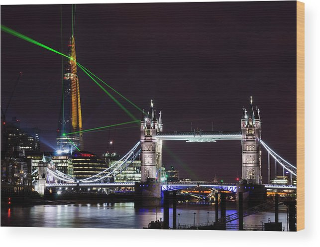 Gothic Style Wood Print featuring the photograph The Shard Skyscraper Opening Laser by Dynasoar