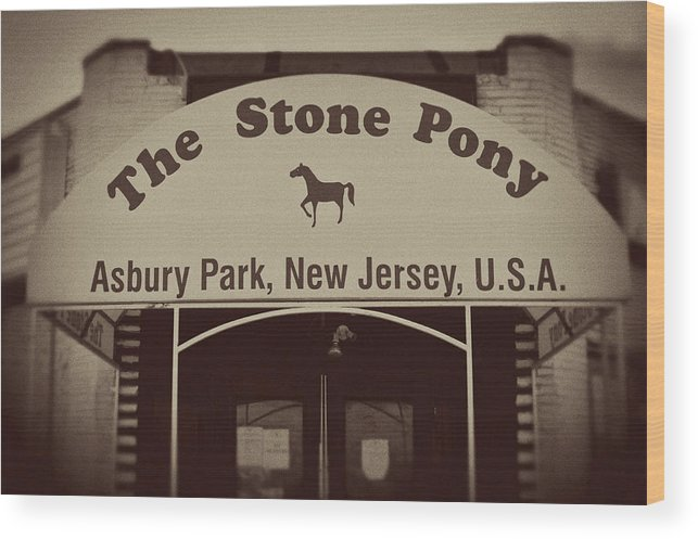 The Stone Pony Vintage Asbury Park New Jersey Wood Print featuring the photograph The Stone Pony Vintage Asbury Park New Jersey by Terry DeLuco
