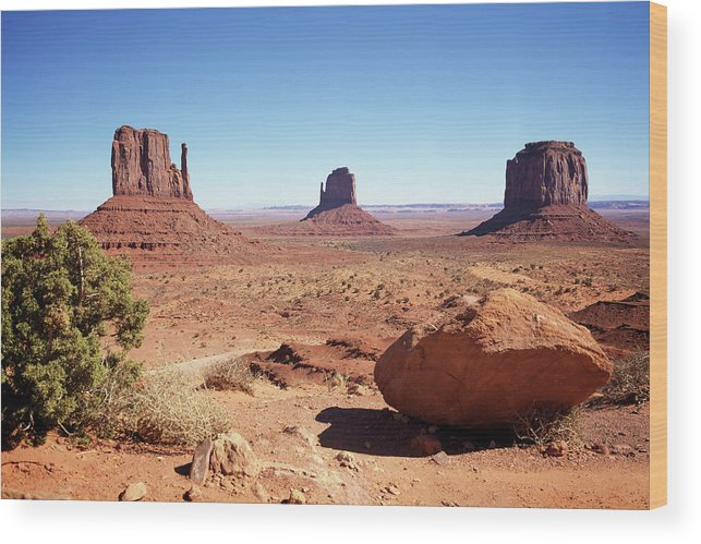 Geology Wood Print featuring the photograph The Three Sisters At Monument Valley by Focus on nature