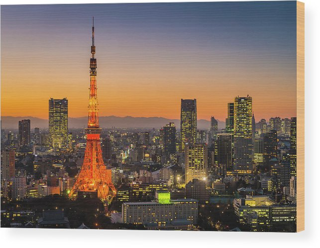 Tokyo Tower Wood Print featuring the photograph Tokyo Tower Skyscrapers Neon Futuristic by Fotovoyager