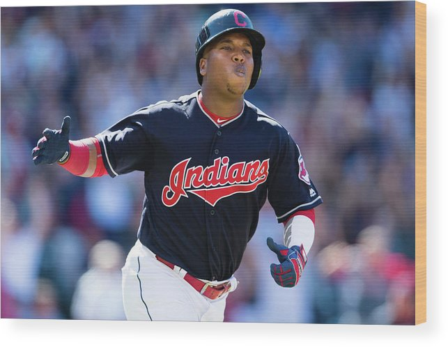 American League Baseball Wood Print featuring the photograph Toronto Blue Jays V Cleveland Indians by Jason Miller