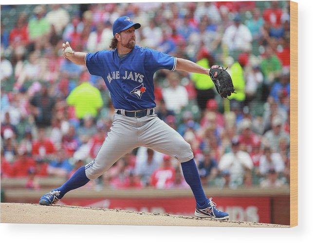 American League Baseball Wood Print featuring the photograph Toronto Blue Jays V Texas Rangers by Rick Yeatts