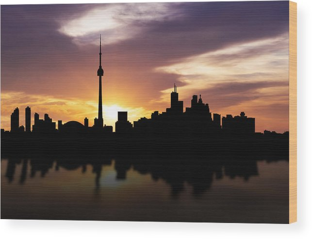 Toronto Skyline Wood Print featuring the photograph Toronto Canada Sunset Skyline by Aged Pixel