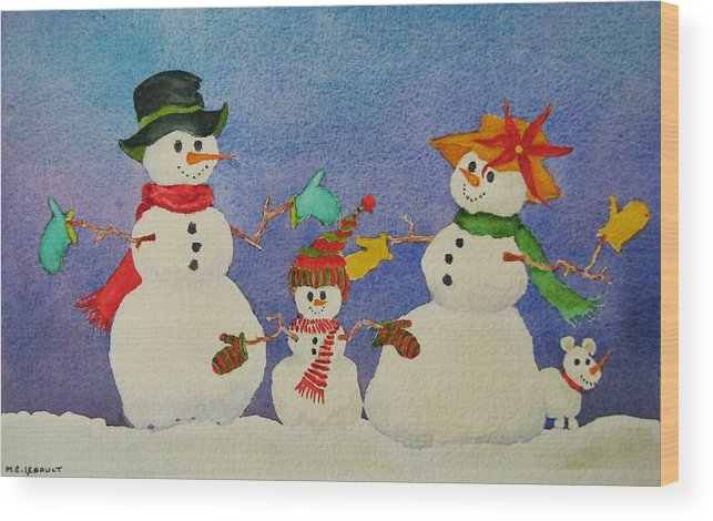 Christmas Card Wood Print featuring the painting Tres Chic by Mary Ellen Mueller Legault