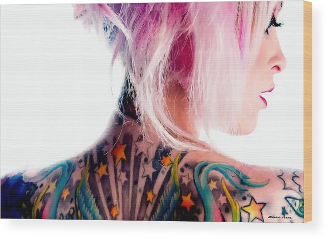 Tattoo Girl Wood Print featuring the digital art Tribute to Suicide Girls 3 by Gabriel T Toro
