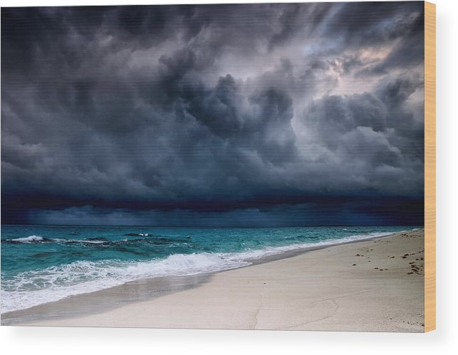Water's Edge Wood Print featuring the photograph Tropical Storm Over The Caribbean Sea by Stevegeer
