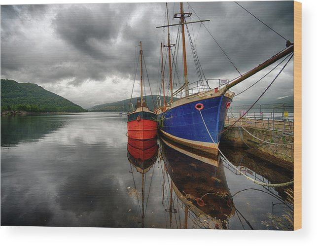 Tranquility Wood Print featuring the photograph Two Ships At The Cost Of Loch Fyne by Emad Aljumah