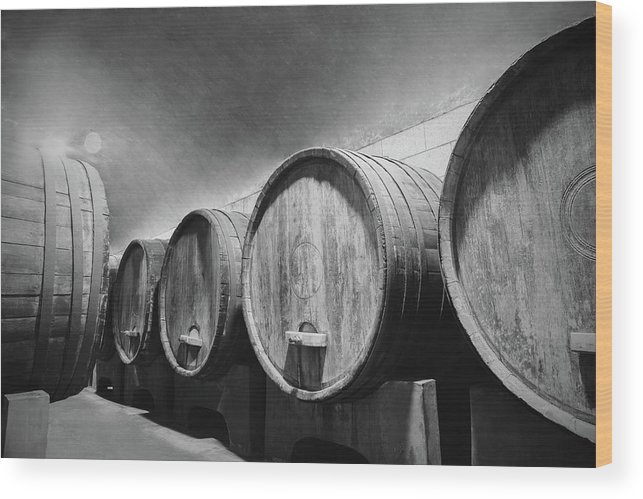 Alcohol Wood Print featuring the photograph Underground Wine Cellar With Wooden by Feellife
