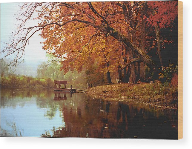 Landscape Wood Print featuring the photograph Upper Charles River in Autumn by Roger Soule