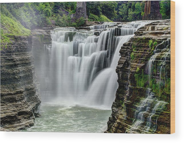 Letchworth State Park Wood Print featuring the photograph Upper Letchworth Falls by Tony Shi Photography