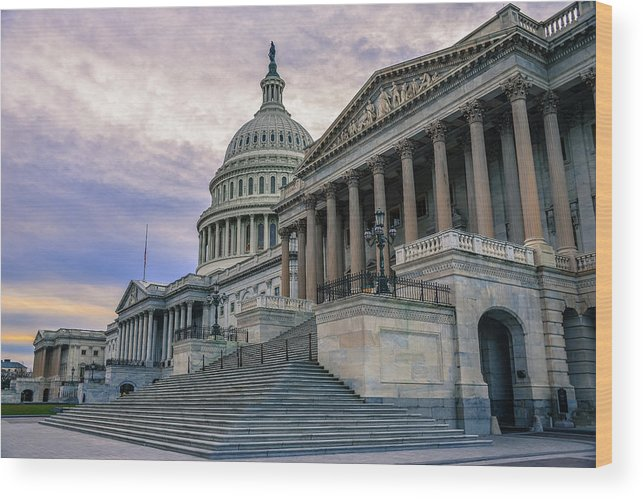 Tranquility Wood Print featuring the photograph Us Capitol Building And Senate Chamber by Mbell