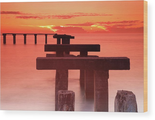 Tranquility Wood Print featuring the photograph Usa, Florida, Boca Grande, Ruined Pier by Henryk Sadura