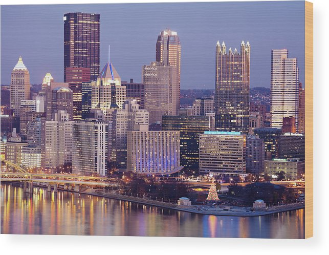 Tranquility Wood Print featuring the photograph Usa, Pennsylvania, Pittsburgh, Cityscape by Henryk Sadura
