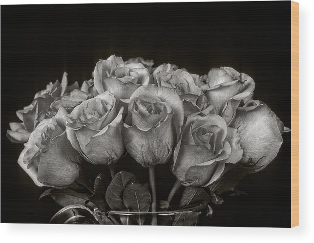 Rose Wood Print featuring the photograph Vase of Roses by Keith Gondron