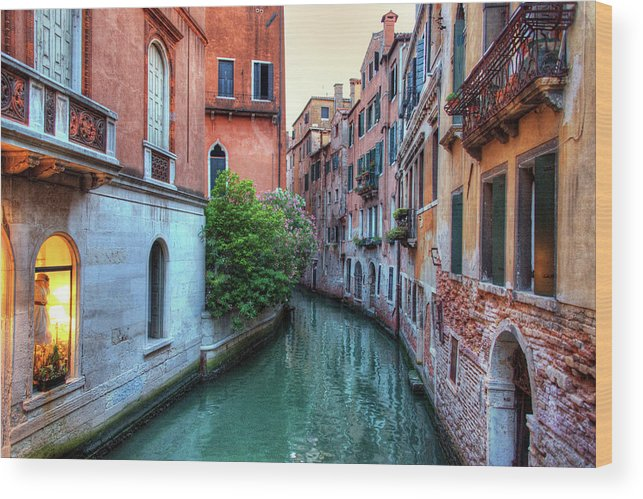 Tranquility Wood Print featuring the photograph Venice Canals by Emad Aljumah