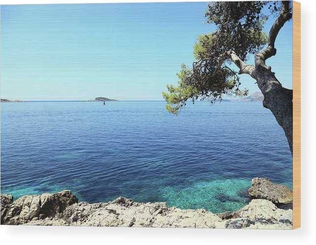 Water's Edge Wood Print featuring the photograph View Of Dubrovnik From Cavtat Peninsula by Vuk8691