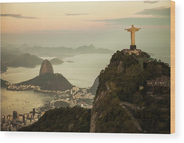 Outdoors Wood Print featuring the photograph View Of Rio De Janeiro At Dusk by Christian Adams