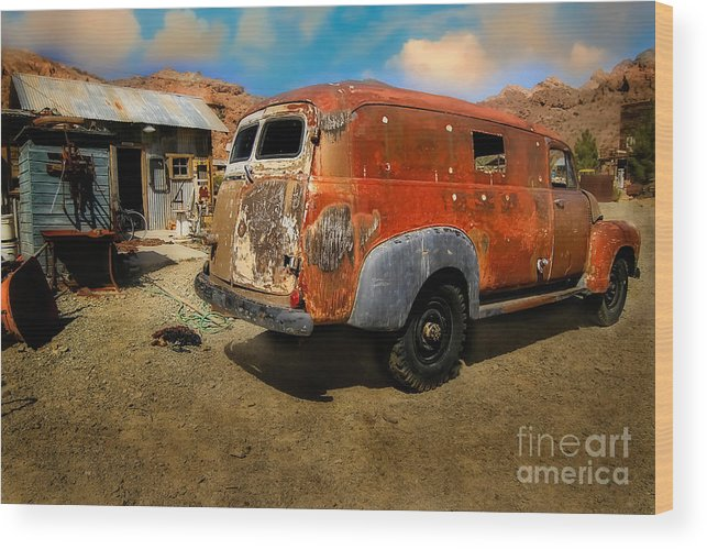 Antique Wood Print featuring the photograph Vintage Rusty Chevy Panel Truck by Brenda Giasson
