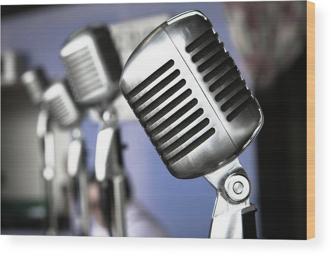 Music Wood Print featuring the photograph Vintage Standing Radio Microphones by Photo By Brian T. Evans