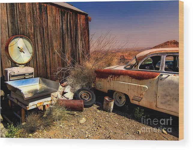 Car Wood Print featuring the photograph Waiting on a Woman by Brenda Giasson