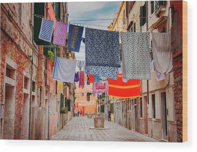 Hanging Wood Print featuring the photograph Washing Hanging Across Street, Venice by Svjetlana