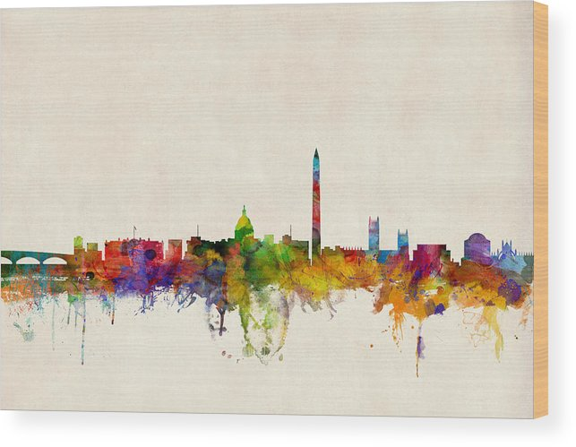 Watercolour Wood Print featuring the digital art Washington DC Skyline by Michael Tompsett